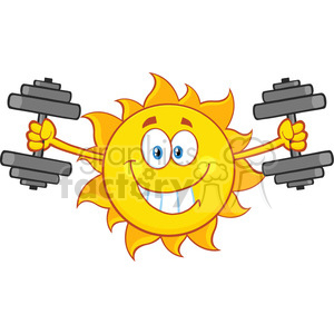 smiling sun cartoon mascot character working out with dumbbells vector illustration isolated on white background clipart. Royalty-free image # 399855