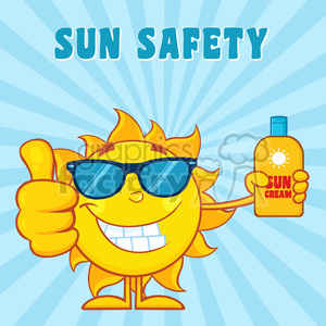 smiling summer sun cartoon mascot character holding a bottle of sun block cream vector illustration with blue sunburst background and text sun safety clipart. Royalty-free image # 399865