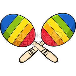 colorful mexican maracas crossed vector illustration isolated on white background clipart. Royalty-free image # 399915