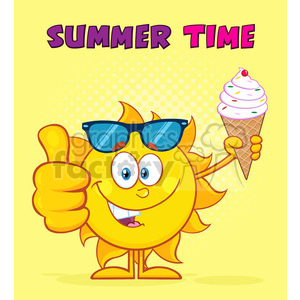 cute sun cartoon mascot character with sunglasses holding a ice cream showing thumb up vector illustration with yellow sunburst background and text summer time clipart. Royalty-free image # 399925
