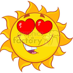 love sun cartoon mascot character vector illustration isolated on white background clipart. Royalty-free image # 399935