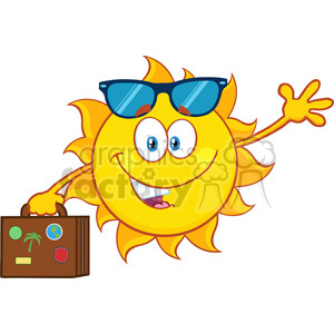 10209 smiling summer sun cartoon mascot character with sunglasses carrying luggage and waving vector illustration isolated on white background clipart. Royalty-free image # 399945