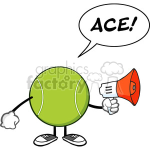tennis ball faceless cartoon mascot character an announcement into a megaphone with speech bubble and text ace vector illustration isolated on white background clipart. Royalty-free image # 399965