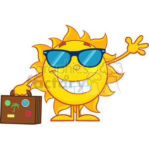 10159 smiling summer sun cartoon mascot character with sunglasses carrying luggage and waving vector illustration isolated on white background clipart. Commercial use image # 399975