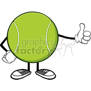 tennis ball faceless cartoon mascot character giving a thumb up vector illustration isolated on white background clipart. Royalty-free image # 399985