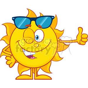 10144 smiling sun cartoon mascot character with sunglasses giving the thumbs up vector illustration isolated on white background clipart. Royalty-free image # 400005