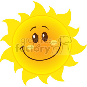 smiling yellow simple sun cartoon mascot character with gradient vector illustration isolated on white background clipart. Royalty-free image # 400015