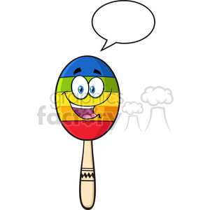 happy colorful mexican maracas cartoon mascot character with speech bubble vector illustration isolated on white background clipart. Royalty-free image # 400025