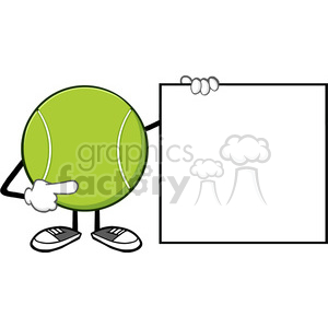 10297 tennis ball faceless cartoon mascot character pointing to a blank sign banner vector illustration isolated on white background clipart. Royalty-free image # 400035