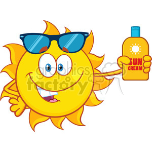cute sun cartoon mascot character with sunglasses holding a bottle of sun block cream vith text vector illustration isolated on white background clipart. Royalty-free image # 400045