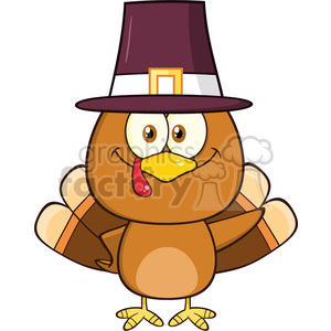 cute pilgrim turkey bird cartoon character waving vector illustration isolated on white clipart. Royalty-free image # 400055