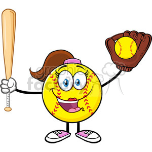 happy softball girl cartoon character holding a bat and glove with ball vector illustration isolated on white background clipart. Royalty-free image # 400085