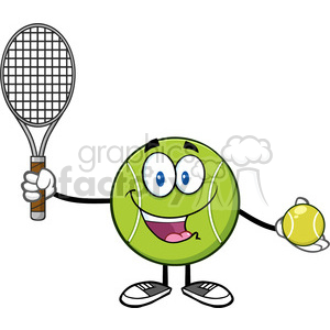 cute tennis ball player cartoon character holding a tennis ball and racket vector illustration isolated on white clipart. Royalty-free image # 400095