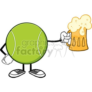 tennis ball faceless cartoon mascot character holding a beer vector illustration isolated on white background clipart. Royalty-free image # 400105