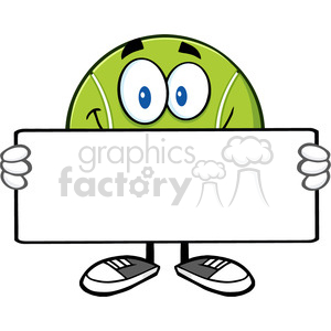 tennis ball cartoon mascot character holding a blank sign vector illustration isolated on white clipart. Royalty-free image # 400115