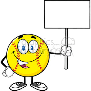 funny softball cartoon mascot character holding a blank sign vector illustration isolated on white background clipart. Royalty-free image # 400145
