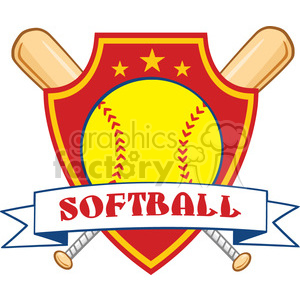 yellow softball over crossed bats logo design label vector illustration isolated on white background with text clipart. Royalty-free image # 400165