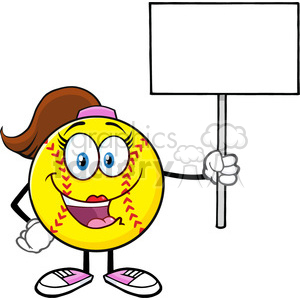 cute softball girl cartoon mascot character holding a blank sign vector illustration isolated on white background clipart. Royalty-free image # 400175
