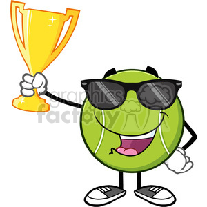 happy tennis ball cartoon character with sunglasses holding a trophy cup vector illustration isolated on white clipart. Royalty-free image # 400185
