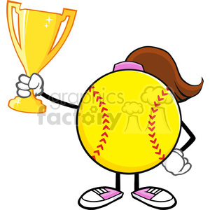softball girl faceless cartoon character holding a trophy cup vector illustration isolated on white background clipart. Royalty-free image # 400195