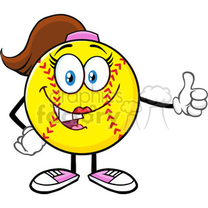 smiling softball girl cartoon mascot character giving a thumb up vector illustration isolated on white background clipart. Royalty-free image # 400205