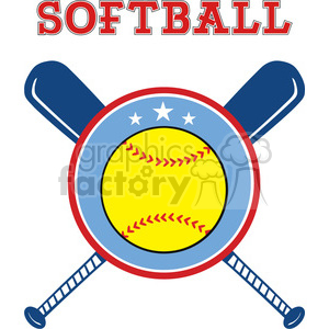 9610 yellow softball over crossed bats logo design label vector illustration isolated on white background with text clipart. Royalty-free image # 400215
