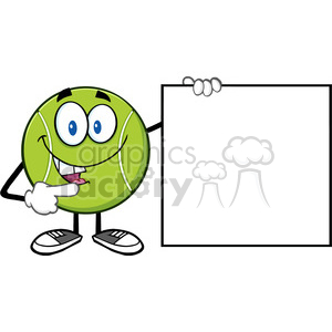 talking tennis ball cartoon mascot character pointing to a blank sign vector illustration isolated on white clipart. Royalty-free image # 400225