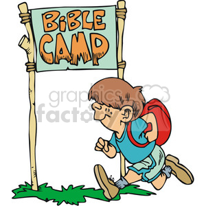 Little boy runnig to bible camp clipart. Commercial use image # 164812