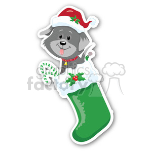 christmas dog in stocking sticker clipart. Commercial use image # 400368