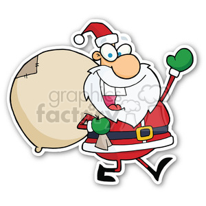 santa with bag sticker clipart. Royalty-free image # 400398