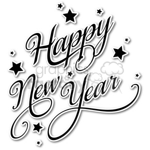 happy new year vector word art sticker