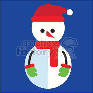 snowman with green mittens on blue square icon vector art clipart. Royalty-free image # 400512