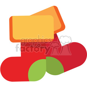 two red cartoon christmas stockings vector flat design art clipart. Commercial use image # 400522