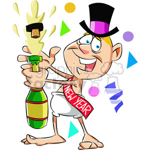 baby new year with a bottle of champagne vector art clipart. Commercial use image # 400562