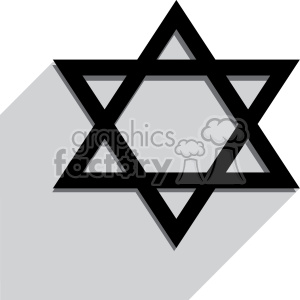 Jewish Star of David flat vector art with shadow clipart. Commercial use image # 400592