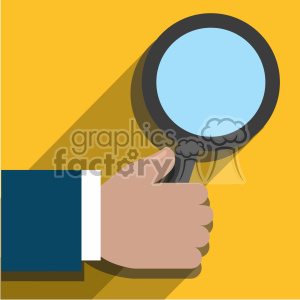 hand holding a magnifying glass flat design vector art on yellow background clipart. Royalty-free image # 400642