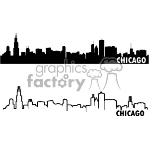 chicago city skyline vector art outline and fill