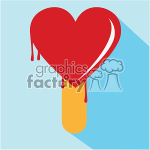 heart shaped popsicle melting vector art flat design clipart. Commercial use image # 402379