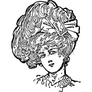 big hair vintage 1900 vector art GF clipart. Royalty-free image # 402499