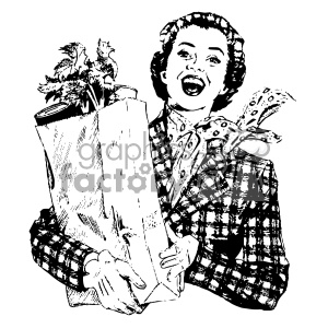 vintage woman holding bag of groceries vintage 1900 vector art GF clipart. Royalty-free image # 402519