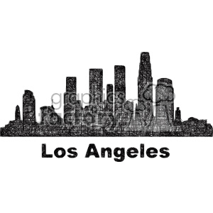 black and white city skyline vector clipart USA Los Angeles clipart. Commercial use image # 402669