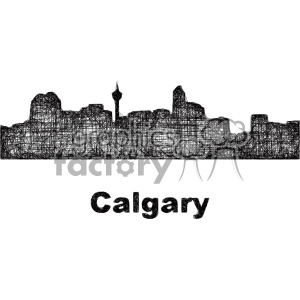 black and white city skyline vector clipart CAN Calgary clipart. Commercial use image # 402679
