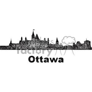 black and white city skyline vector clipart CAN Ottawa clipart. Commercial use image # 402699