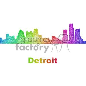 city skyline vector clipart USA Detroit