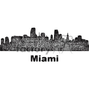 black and white city skyline vector clipart USA Miami clipart. Commercial use image # 402719