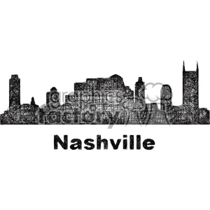 black and white city skyline vector clipart USA Nashville clipart. Royalty-free image # 402739