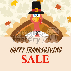 10599 Happy Thanksgiving Turkey Bird Cartoon Mascot Character Holding A Happy Thanksgiving Sale Sign Vector Flat Design Over Background With Autumn Leaves clipart. Royalty-free image # 402750