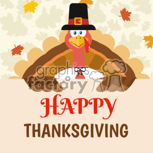 Happy Pilgrim Thanksgiving Turkey Bird Cartoon Mascot Character Holding A Happy Thanksgiving Sign Vector Flat Design Over Background With Autumn Leaves