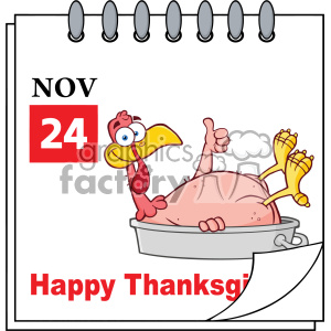 Cartoon Calendar Page With Smiling Turkey Bird In The Saucepan Giving A Thumb Up Vector clipart. Royalty-free image # 402760