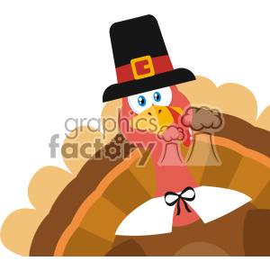 Pilgrim Turkey Bird Cartoon Mascot Character Peeking From A Corner Vector Flat Design clipart. Royalty-free image # 402765